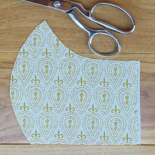 Golden Block Print~ Adult Mask w/ Filter Pocket