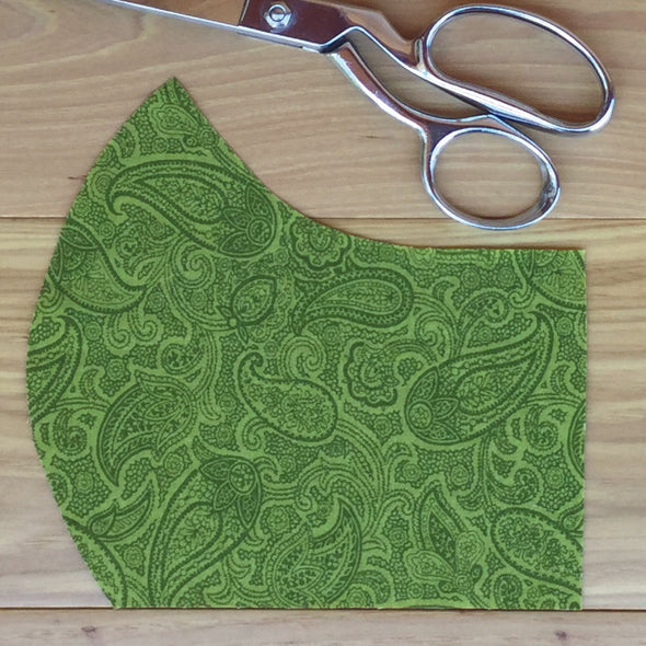 Green Paisley ~ Adult Mask w/ Filter Pocket