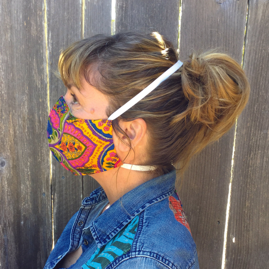 Blue & Red Arcs ~ Adult Sizes M & L Mask w/ Filter Pocket