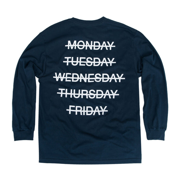 Weekend Longsleeve Tee, Navy - days off
