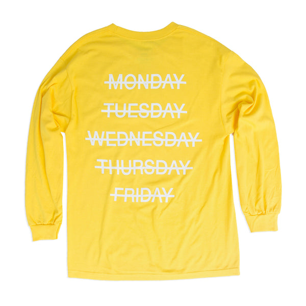 Weekend Longsleeve Tee, Yellow - days off