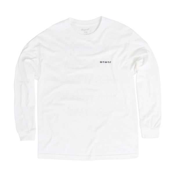 Weekend Longsleeve Tee, White - days off