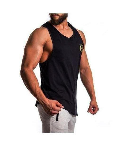 Squad Wear Side Scoop Sleeveless T-Shirt Black-Squad Wear-Gym Wear