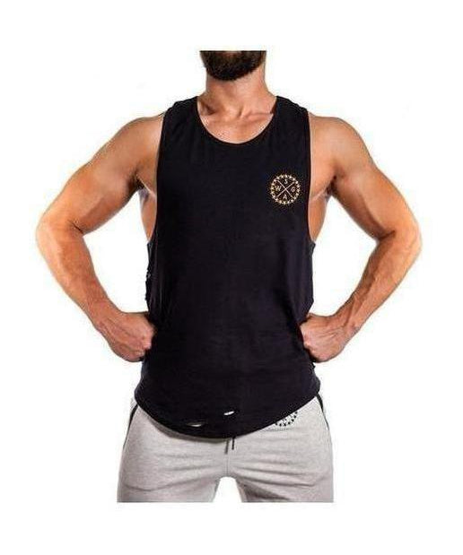 Image of Squad Wear Distressed Scoop Sleeveless T-Shirt Black