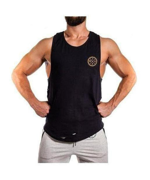 Squad Wear Distressed Scoop Sleeveless T-Shirt Black-Squad Wear-Gym Wear