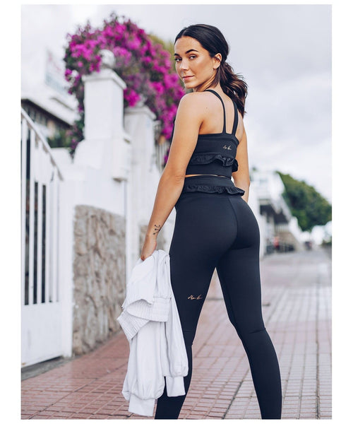 Workout Empire Strong is Female Frill Leggings Black-Workout Empire-Gym Wear