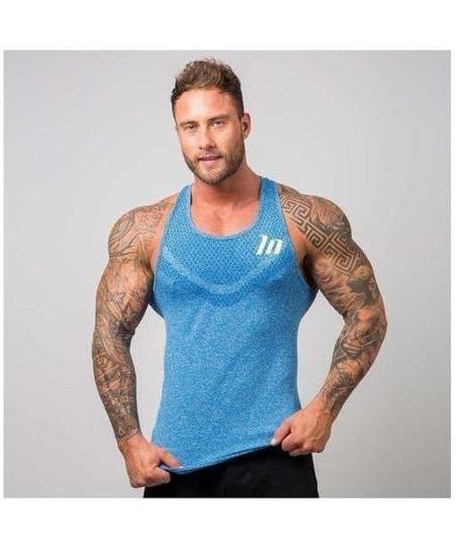 Image of Muscle Nation Ghost Seamless Sleeveless T-Shirt Blue