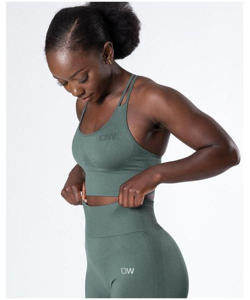 ICIW Define Seamless Sports Bra Jungle Green-ICIW-Gym Wear