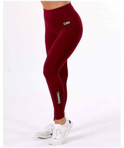 ICIW Scrunch Bum High Waisted Leggings Maroon-ICIW-Gym Wear