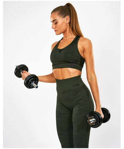 ICIW Seamless Sports Bra Green Camo-ICIW-Gym Wear