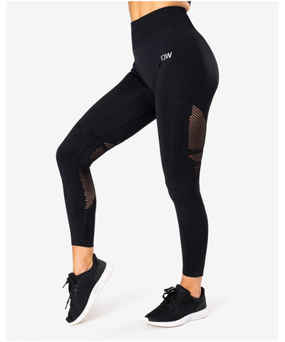 ICIW Queen Mesh Seamless High Waited Leggings Black-ICIW-Gym Wear