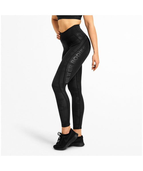 Better Bodies Camo High Waisted Leggings Black Camo-Better Bodies-Gym Wear
