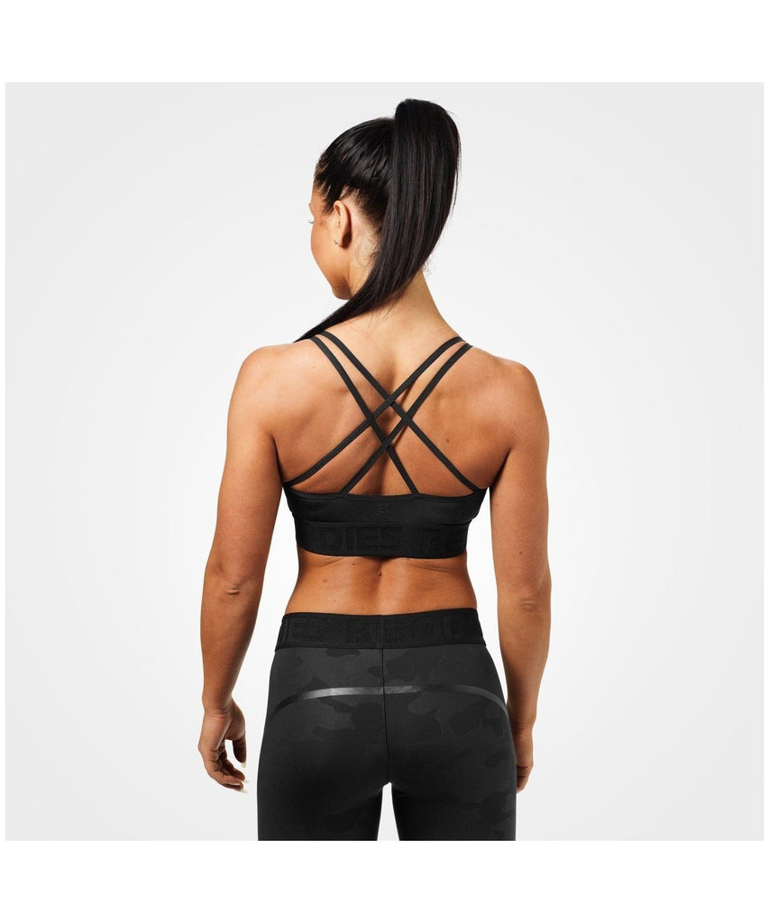 Better Bodies Astoria Sports Bra Black Camo-Better Bodies-Gym Wear