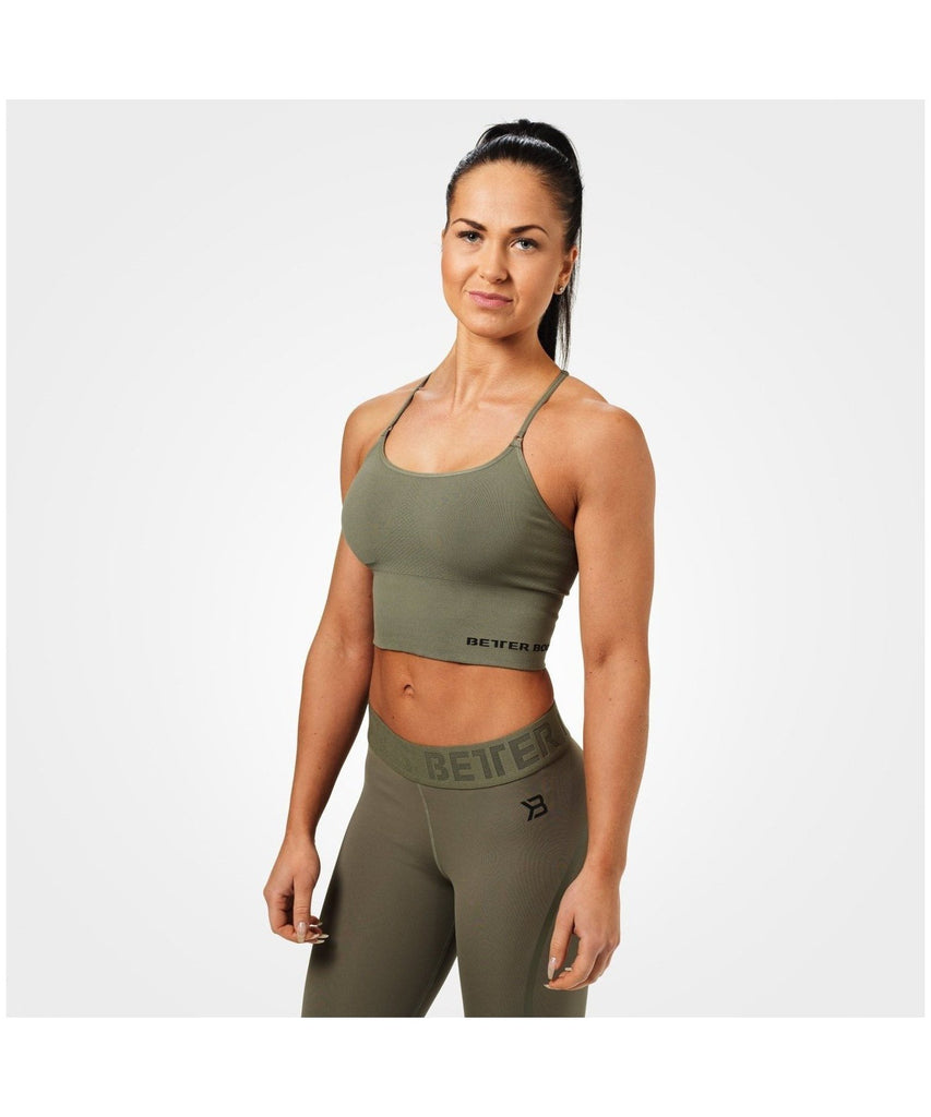 Better Bodies Astoria Seamless Sports Bra Green-Better Bodies-Gym Wear