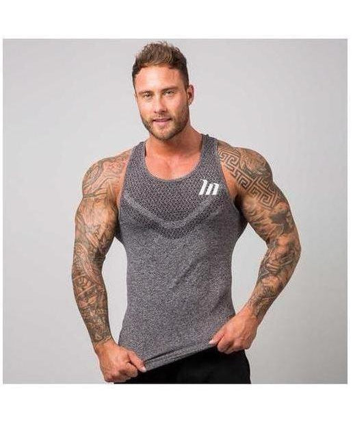 Image of Muscle Nation Ghost Seamless Sleeveless T-Shirt Grey