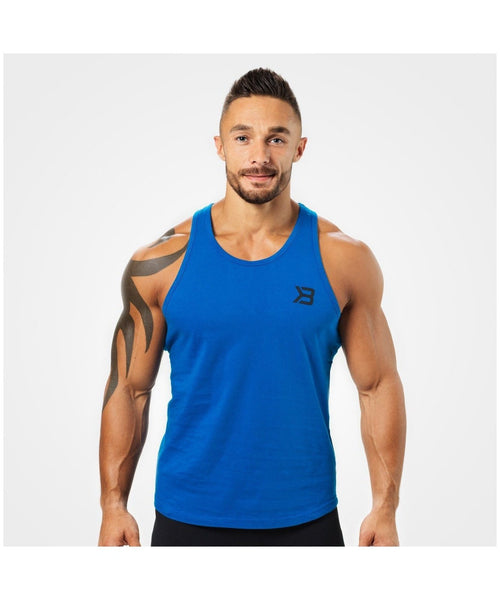 Better Bodies Essential T-Back Vest Blue-Better Bodies-Gym Wear