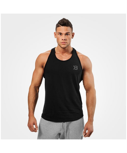 Better Bodies Essential T-Back Vest Black-Better Bodies-Gym Wear