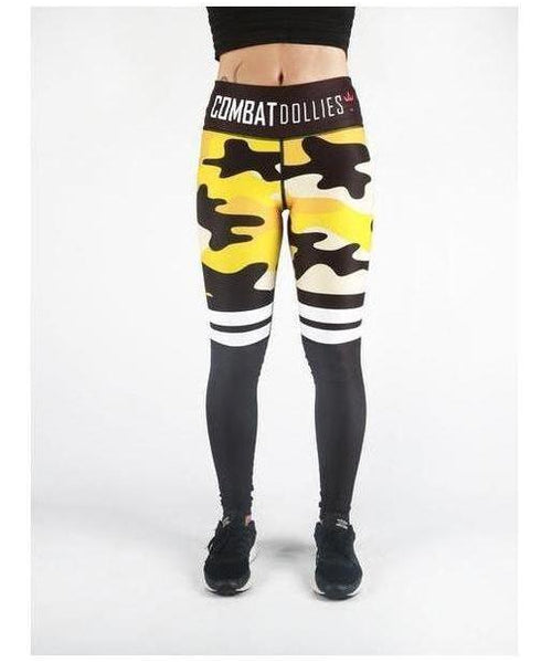 Combat Dollies Yellow Camo Stripe Fitness Leggings-Combat Dollies-Gym Wear