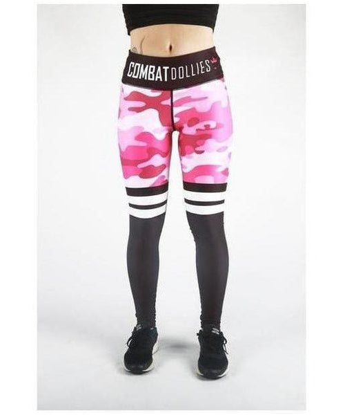 Combat Dollies Pink Camo Stripe Fitness Leggings-Combat Dollies-Gym Wear