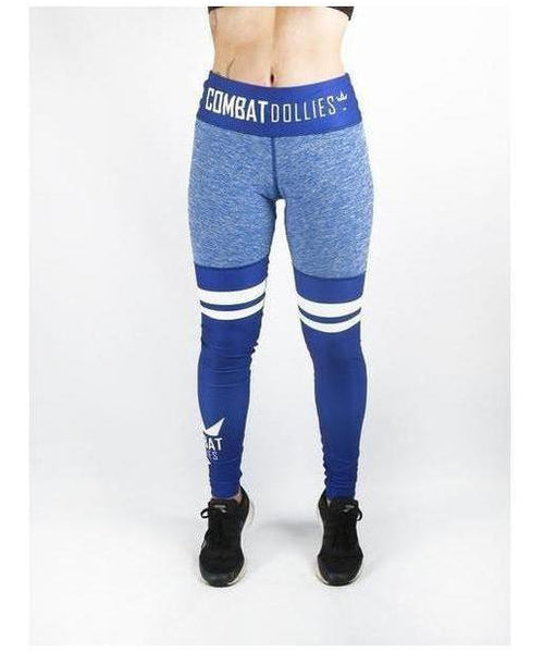 Combat Dollies High Leg Fitness Leggings Blue-Combat Dollies-Gym Wear