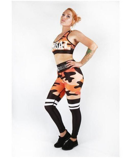 Combat Dollies Orange Camo Sports Bra-Combat Dollies-Gym Wear