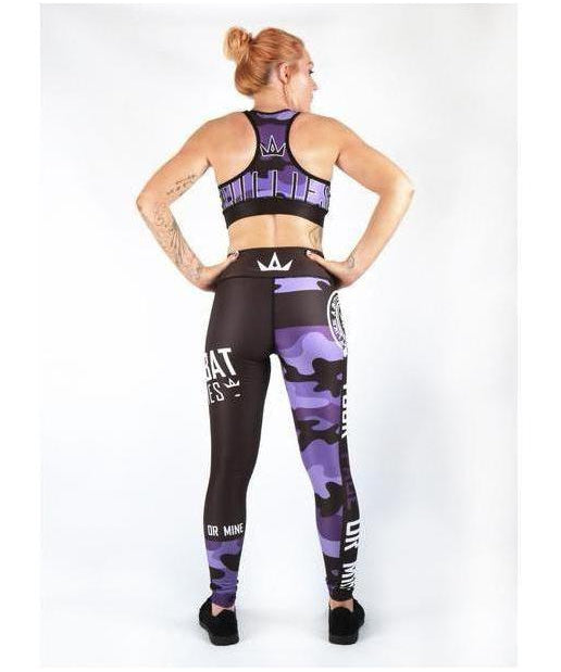 Combat Dollies Purple Camo Sports Bra-Combat Dollies-Gym Wear