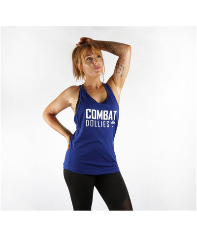 Combat Dollies Tape Back Tank Blue