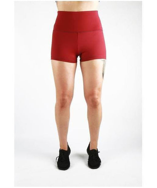 Combat Dollies Super High Waist Maroon Booty Shorts-Combat Dollies-Gym Wear