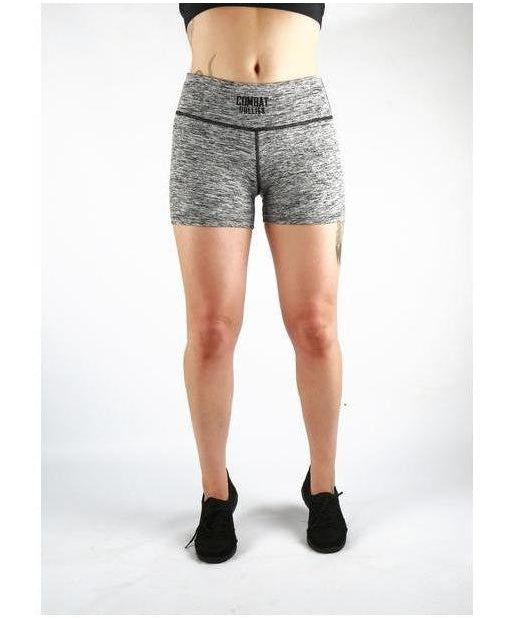 Combat Dollies Hazel Grey High Waisted Shorts-Combat Dollies-Gym Wear