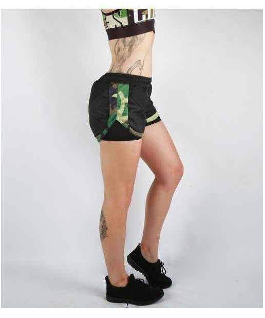 Combat Dollies Green Camo Rush Shorts-Combat Dollies-Gym Wear