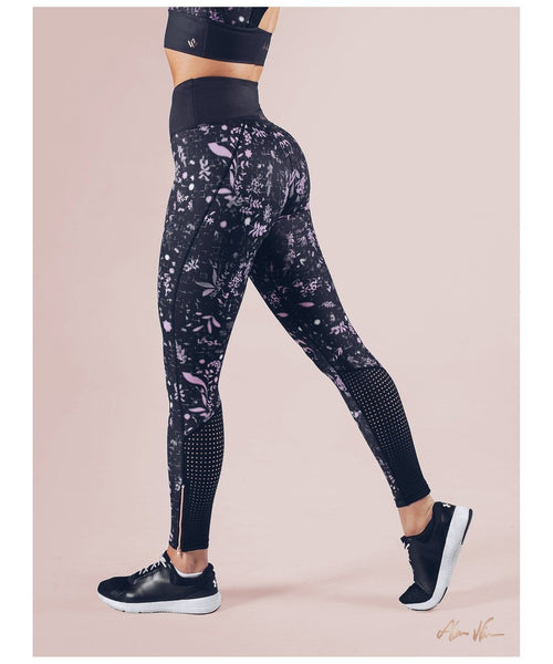 Workout Empire Strong is Female Floral Leggings Black-Workout Empire-Gym Wear