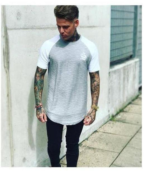 Sinners Attire Flannel Longline T-Shirt Grey-Sinners Attire-Gym Wear