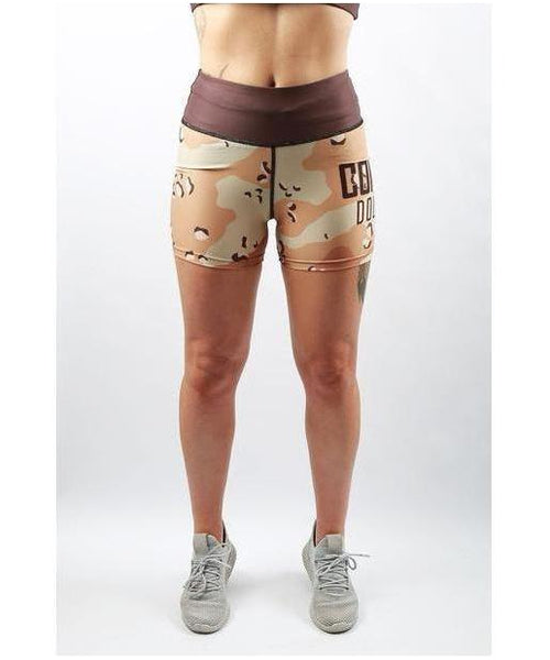 Combat Dollies Desert Camo Fitness Shorts-Combat Dollies-Gym Wear