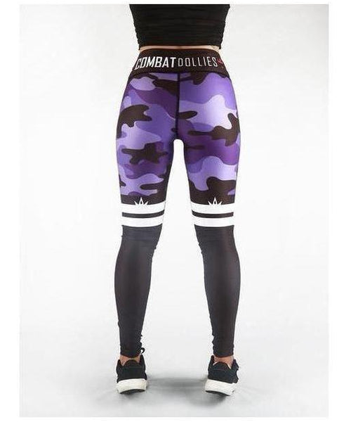 Combat Dollies Purple Camo Stripe Fitness Leggings-Combat Dollies-Gym Wear