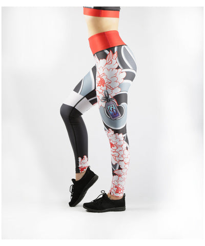 Combat Dollies Peonies Fitness Leggings-Combat Dollies-Gym Wear