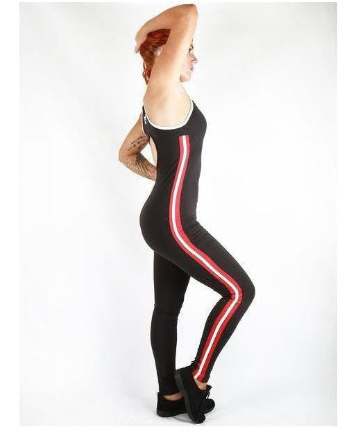Combat Dollies Red Stripe Gym Jumpsuit-Combat Dollies-Gym Wear