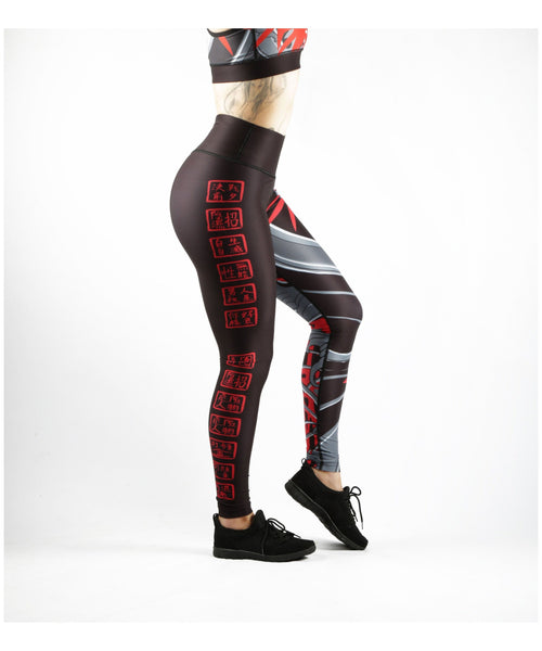 Combat Dollies Red Bamboo Fitness Leggings