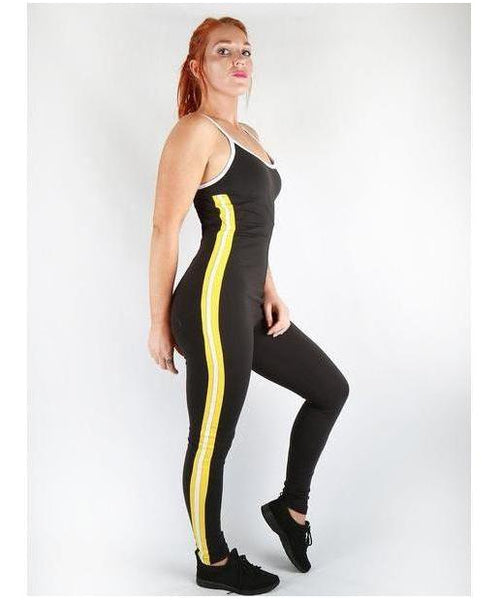 Combat Dollies Yellow Stripe Gym Jumpsuit-Combat Dollies-Gym Wear