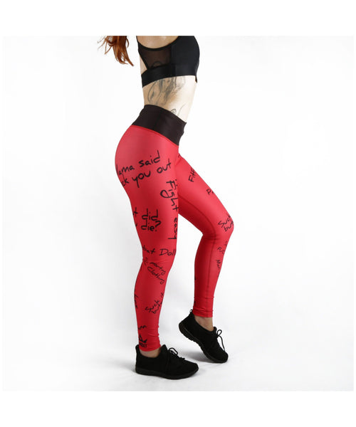 Combat Dollies Red Slogan Fitness Leggings-Combat Dollies-Gym Wear