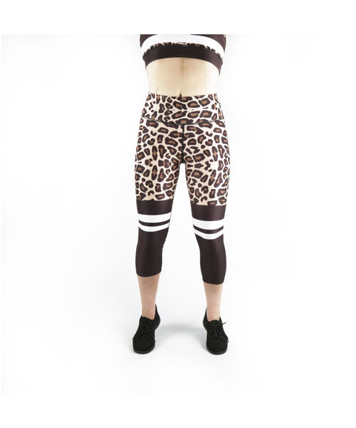 Combat Dollies Leopard Print Capri Fitness Leggings-Combat Dollies-Gym Wear