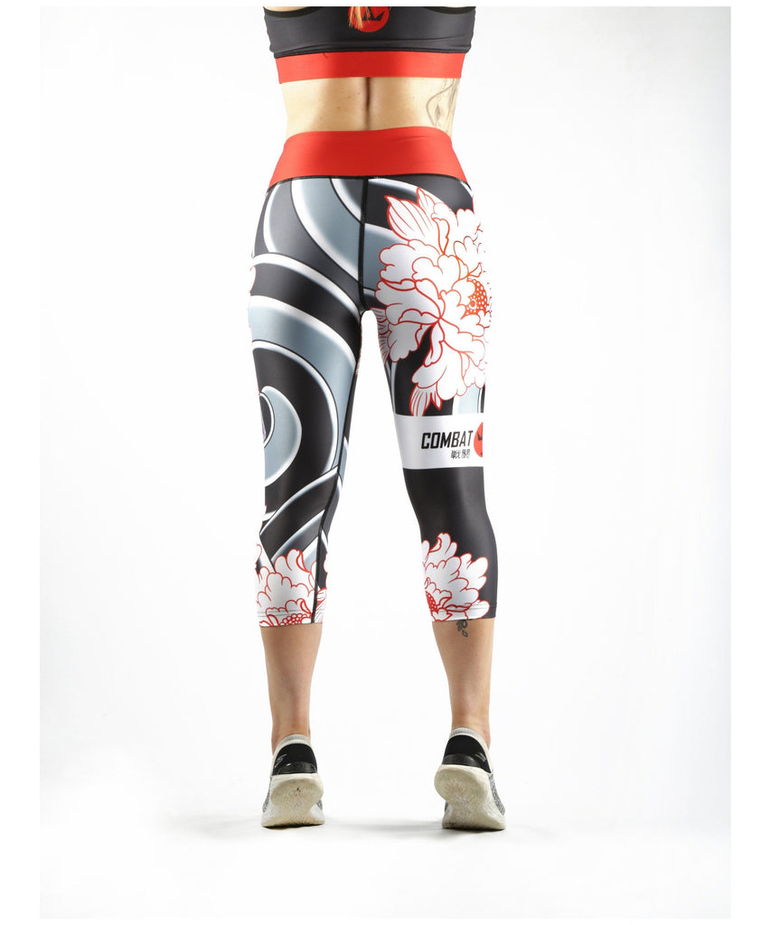 Combat Dollies Peonies Capri Fitness Leggings-Combat Dollies-Gym Wear