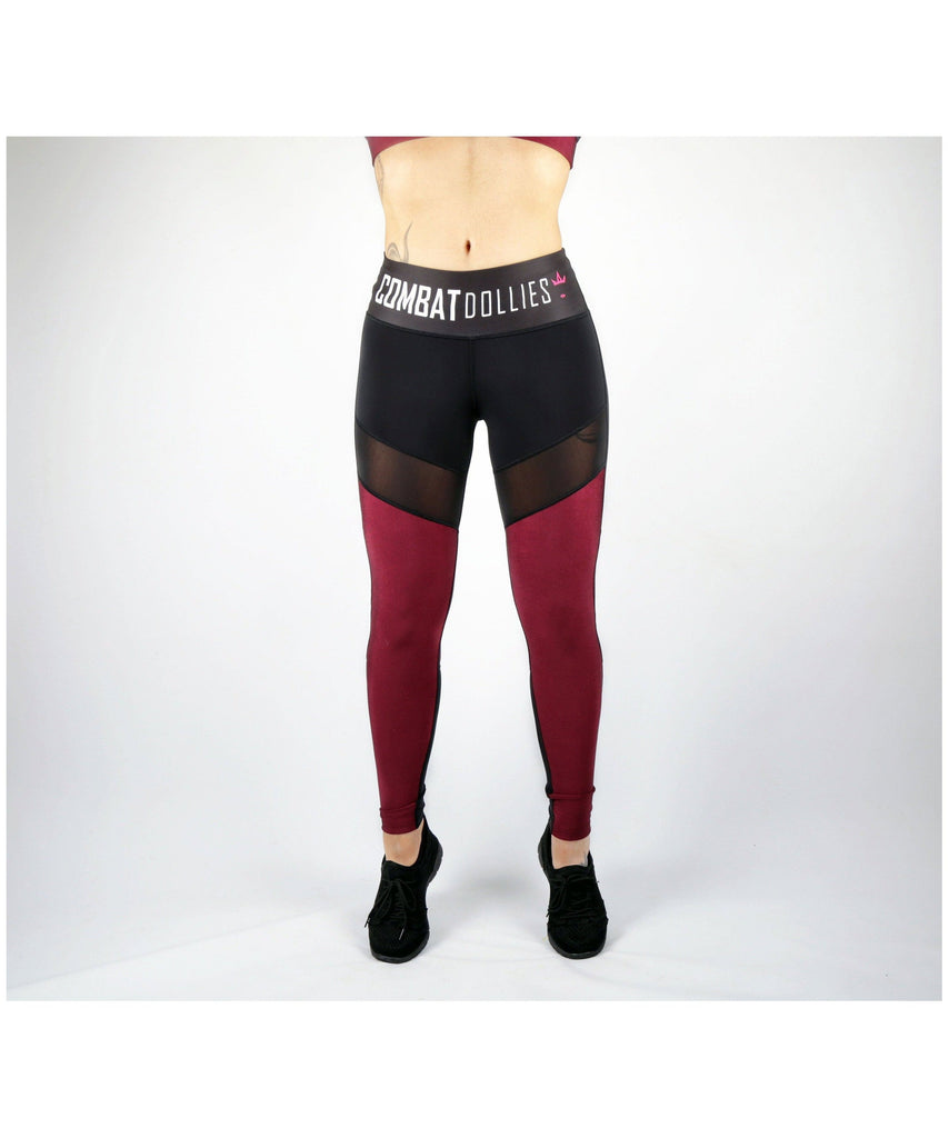 Combat Dollies Burgundy High Shine Fitness Leggings-Combat Dollies-Gym Wear