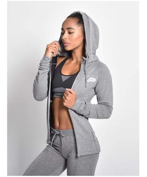 Pursue Fitness Slim Stretch Hoodie Grey-Pursue Fitness-Gym Wear