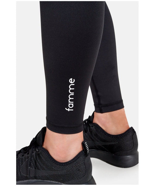 Famme Essential High Waisted Leggings Black-Famme-Gym Wear