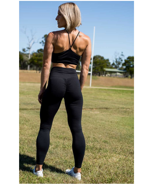 Stop It I Like It High Waisted Scrunch Leggings Black-Stop It I Like It-Gym Wear
