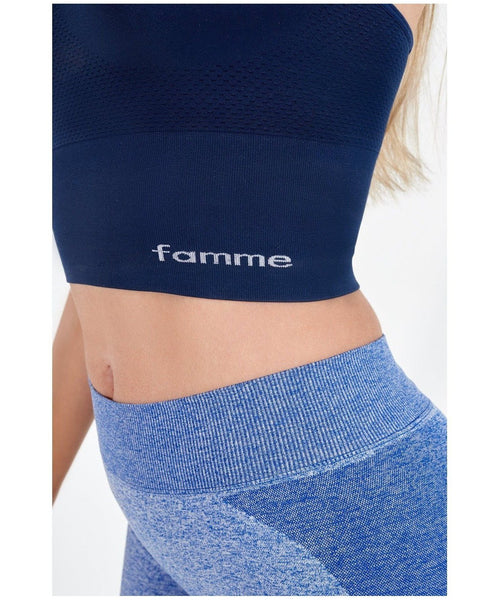 Famme Power Seamless Top Blue-Famme-Gym Wear