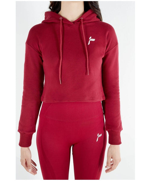 Famme Pure Cropped Hoodie Red-Famme-Gym Wear
