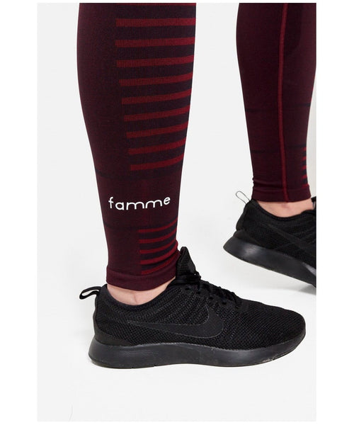 Famme Future High Waisted Leggings Burgundy-Famme-Gym Wear