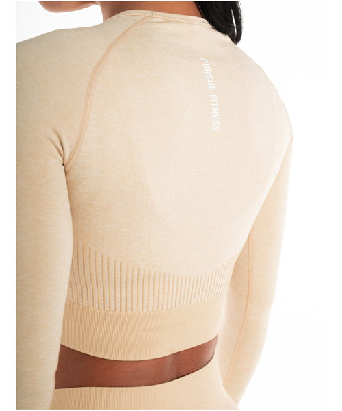 Pursue Fitness ADAPT Seamless Long Sleeve Crop Top Beige