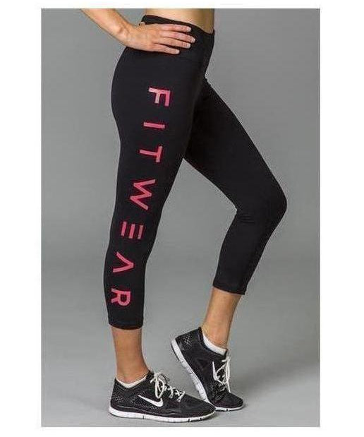 Image of Fitwear 3/4 Text Leggings Pastel Red